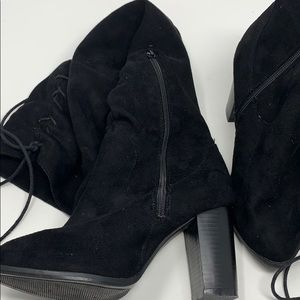 Black thigh high lace boots Size 6